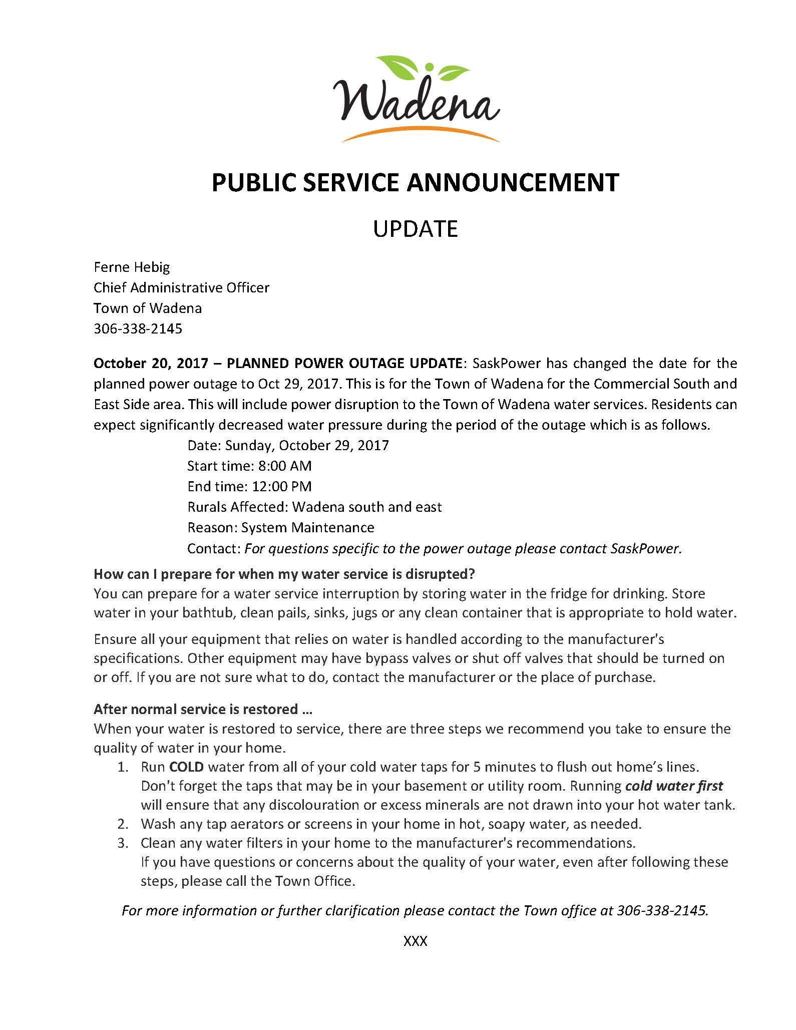 PSA - 2017-10-20 -UPDATE Planned Power Outage