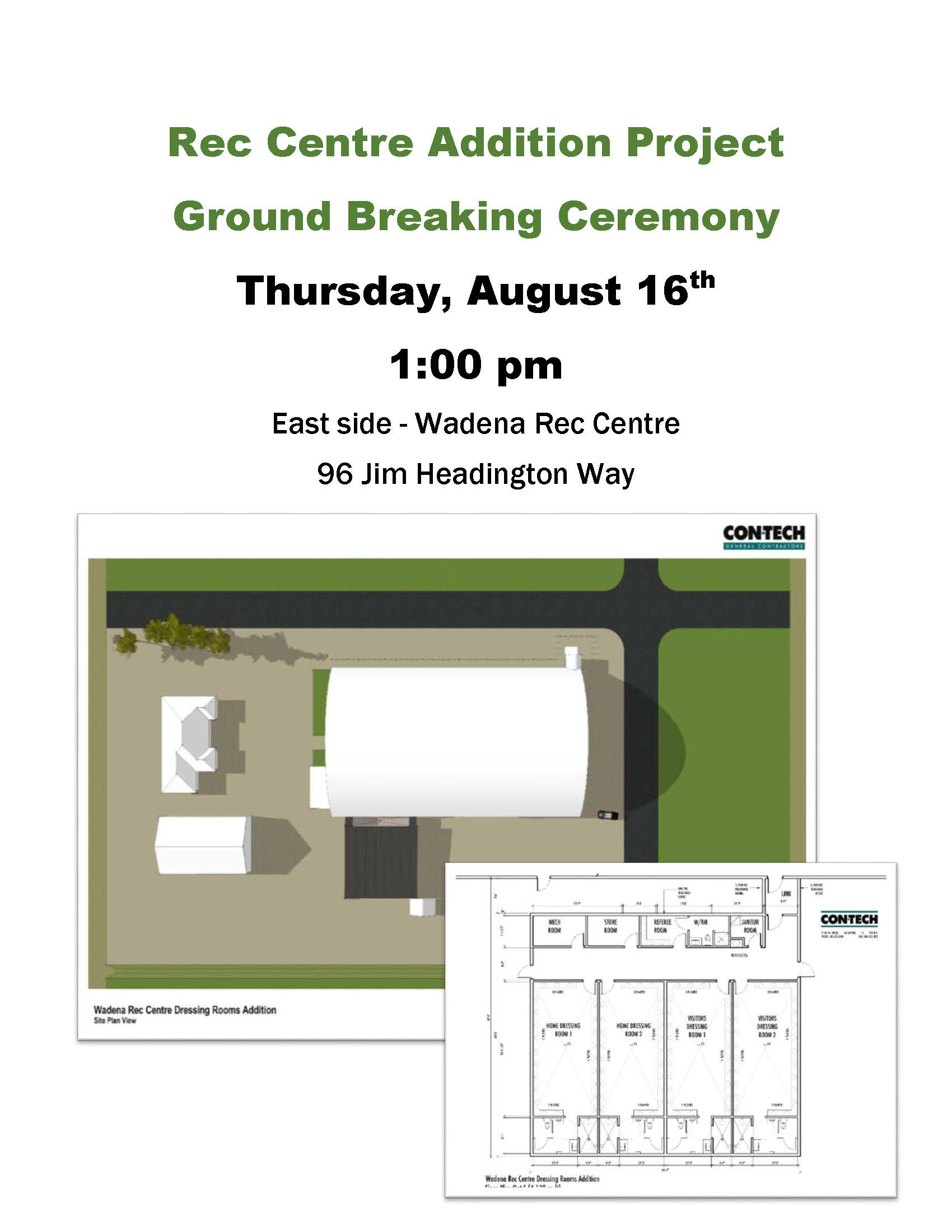 Rec Centre Addition Project Ground Breaking Poster