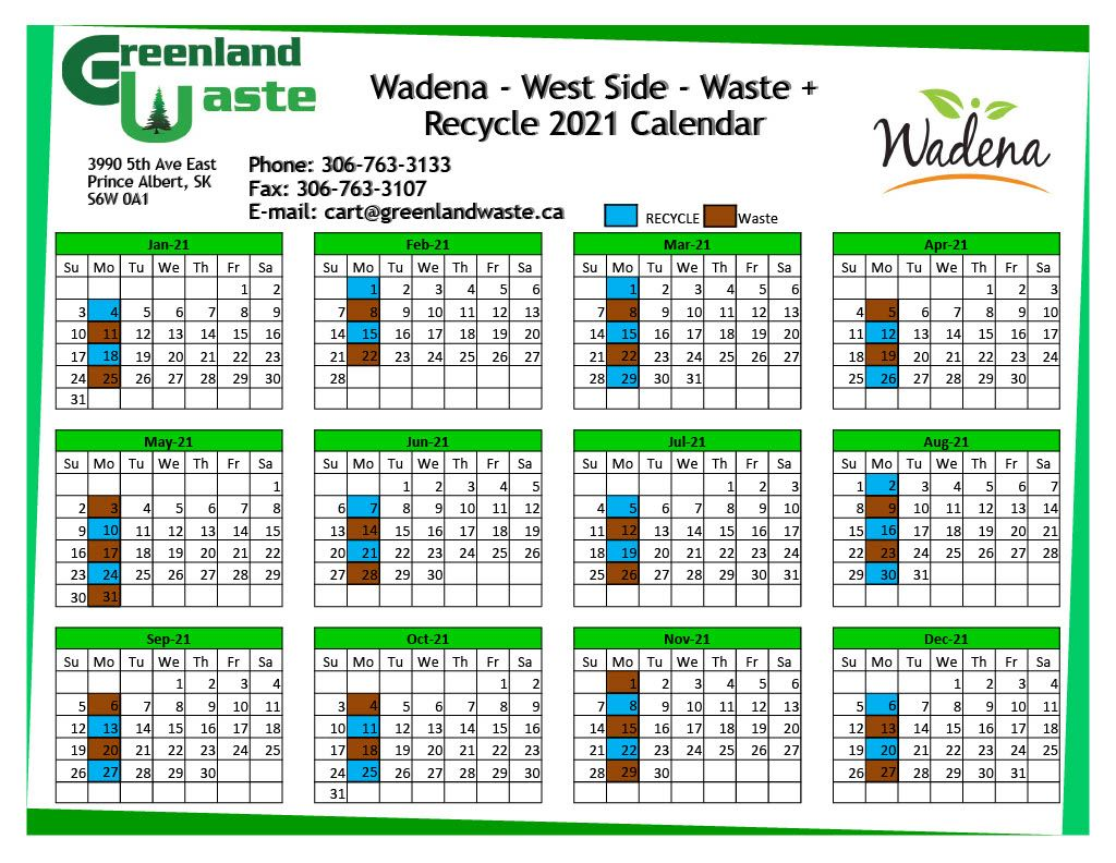 Wadena-West Side-Garbage-Recycle 2021 Calendar