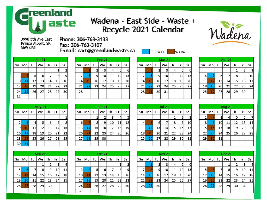 Wadena-East Side-Garbage-Recycle 2021 Calendar